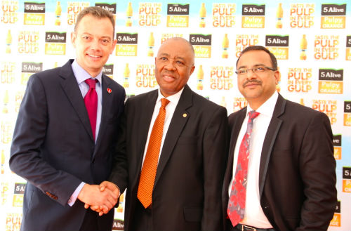 Matthieu Seguin, Country Commercial Director, Nigerian Bottling Company; Emmanuel N. Nnorom CEO, Transcorp Plc; Prahlad Gangadharan Director of Stills, NBC during the launch of Five Alive Pulpy Orange, a new juice line made with concentrate from Transcorp agribusiness subsidiary Teragro Commodities Ltd.