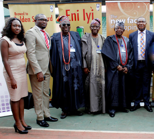 Phoebe Larry-Izamoje, Assistant Brand Manager Maltina, Mr. Mfon Bassey, Brand Manager Goldberg, both of Nigerian Breweries Plc, Chief Olu Ouboyejo, Vice Chairman Ojude Oba organizing committee, Otunba Wahab Osinusi, Chairman Ojude Oba organizing committee and Mr. Tayo Adelaja, Corporate Affairs Manager West, also of Nigerian Breweries Plc at a press conference on Ojude Oba Festival in Ijebu Ode recently which was sponsored by Goldberg and Maltina