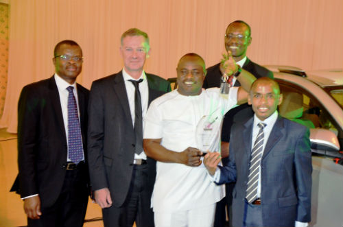 L-R Corporate Relations Director, Sesan Sobowale, Sales Director, Paul Costigan, both of Guinness Nigeria, Managing Director, Edinho Nig. Ltd, Chief Edmond Okafor, Supply Chain Director, Cephas Afebuameh and Managing Director/ Chief Executive Officer, Guinness Nigeria, Peter Ndegwa, at the Guinness Nigeria's Distributors Conference, tagged 'Partners for Growth' which held at Classique Events Centre, Lagos on October 22, 2015