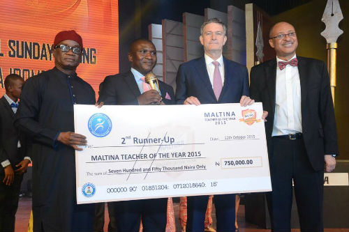Mr. Daniel Sunday Udiong, Second Runner-up, Maltina, Teacher of the Year Award, Mr. Nicolaas Vervelde, Managing Director, Nigerian Breweries, Mr. Pat Utomi, one of the judges