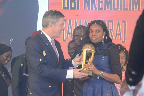 Mr. Nicolaas Vervelde, Managing Director, Nigerian Breweries Plc, Rose Nkemdili Obi, Winner of Maltina, Teacher of the Year award