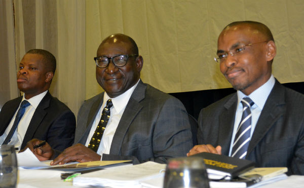 L-R, Sesan Sobowale, Company Secretary, Guinness Nigeria Plc, Babatunde Savage, Chairman and Peter Ndegwa, MD/CEO during the 65th annual general meeting of Guinness Nigeria Plc in Abuja.on 26th-11-2015
