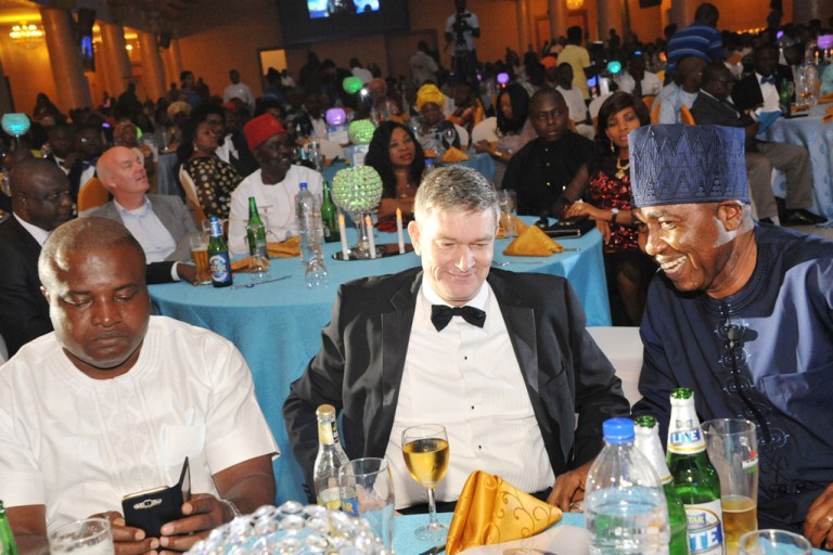L-R: Mr. Ken Maduakor, Nigerian Breweries Plc Distributor of the Year; Mr. Nicolaas Velvede, Managing Director Nigerian Breweries; and Mr. Hubert Eze, Sales Director, Nigerian Breweries at the Distributors Award Night in Lagos on Friday