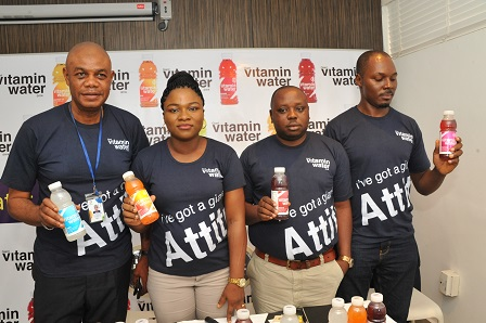 L - R Mr. Eke Leonard, Regional Sales Manager South-South/East, Mrs. Bose Ogunyemi, Marketing Manager and Mr. Emmanuel Akpah, Regional Sales Manager Lagos/South-West, Maurice Ibie, Brand Activation Manager, all of Giant Beverages