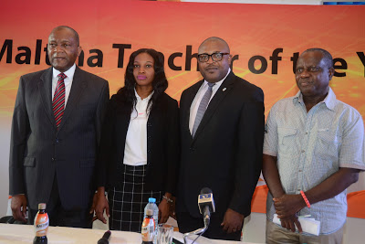 L-R: Mr. Victor Famuyibo, Human Resources Director, Nigerian Breweries Plc; Mrs. Rose Nkemdilim Obi, 2015 Maltina Teacher of the Year; Mr. KufreEkanem, Corporate Affairs Adviser, Nigerian Breweries Plc; and Mr. WoleOyeniyi, Deputy General Secretary, Nigerian Union of Teachers, NUT