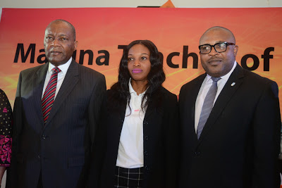 L-R: Mr. Victor Famuyibo, Human Resources Director, Nigerian Breweries Plc; Mrs. Rose Nkemdilim Obi, 2015 Maltina Teacher of the Year; Mr. Kufre Ekanem, Corporate Affairs Adviser, Nigerian Breweries Plc