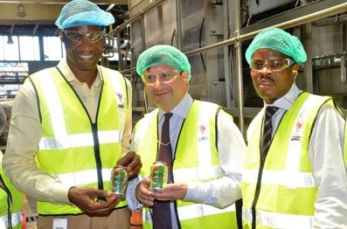 L-R: Supply Chain Director, Guinness Nigeria Plc, Cephas Afebuameh; British High Commissioner to Nigeria, Paul Arkwright; and Corporate Relations Director, Guinness Nigeria Plc, Sesan Sobowale during a tour of the Guinness Nigeria Plc Ogba Brewery plant in Ikeja, Lagos state