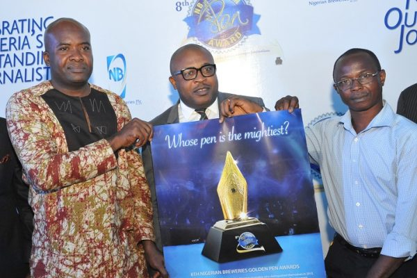 From Left to Right – Mr. Anthony Akaeze, Assistant Editor, Tell Magazine and 2015 Golden Pen Reporter of the Year; Mr. Kufre Ekanem, Corporate Affairs Adviser, Nigerian Breweries Plc; and Mr. Canice Opara, Copy Editor, Business World Newspaper and Winner, 2014 Golden Pen Report of the Year, at the flag-off/Call for Entries for the 2016 Golden Pen Award in Lagos