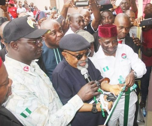 L-R: President, Nigerian Labour Congress (NLC),  Comrade Ayuba Wabba; Minister of Labour, Dr. Chris Ngige; President, National Union of Food, Beverage and Tobacco Employees (NUFBTE) Vice President, NLC, Comrade Lteef Idowu Oyelekan; and others, during the commissioning of Second (2nd) phase, Food Union Hotels and Suites Ltd at Ojodu-Berger on Friday 11-08-2016