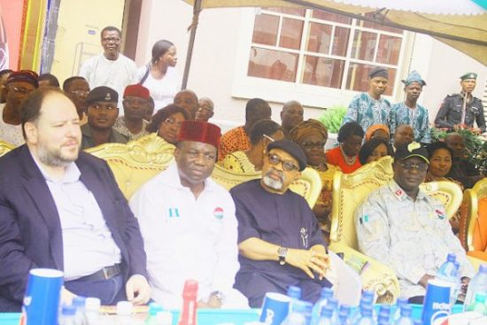 L-R: Managing Director, Nigerian Bottling Company (NBC), Mr. George Polymenakos; National Union of Food, Beverage and Tobacco Employees (NUFBTE) Vice President, Comrade Lateef Oyelekan; Minister of Labour, Dr. Chris Ngige; President, Nigerian Labour Congress (NLC), Comrade Ayuba Wabba, during the commissioning of Second second phase, Food Union Hotels and Suites Ltd at Ojodu-Berger on Friday 12-08-2016