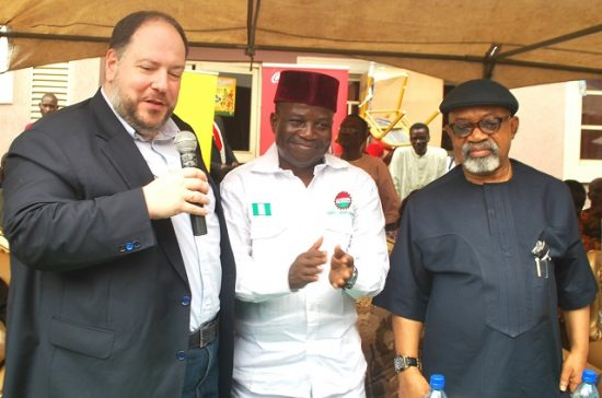 George Polymenakos, Managing Director, Nigerian Bottling Company (NBC), Honourable Minister of Labour and Employment, Dr.Chris Ngige, NUFBTE President, Lateef Oyelekan at the commissioning of the second phase of Union Food Hotels & Suites in Ojodu-Berger, Lagos