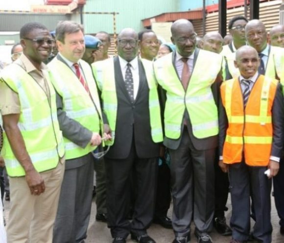 L-R President, Diageo Africa, Mr. John Okeeffe; Chairman of the Board, Guinness Nigeria Plc, Babatunde Savage; Governor of Edo State, Godwin Obaseki; Managing Director/CEO of Guinness Nigeria Plc, mr. Peter Ndegwa at the commissioning of Guinness Nigeria's new spirit production line in Benin City Edo State -November 23, 2016