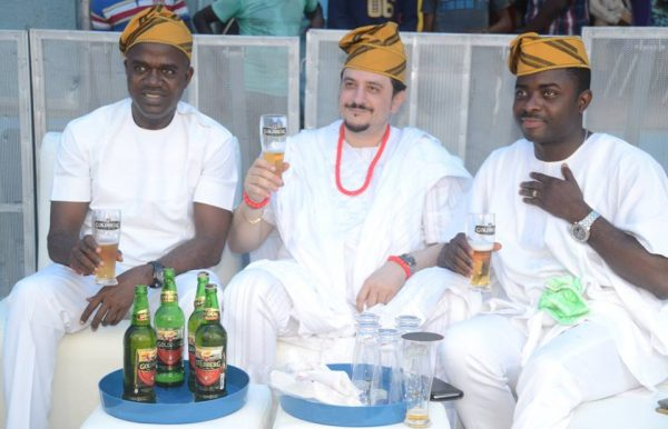 L-R: Emmanuel Agu, Portfolio Manager, Mainstream Lager and Stout Brands, Nigerian Breweries Plc; Franco Maria Maggi, Marketing Director, Nigerian Breweries Plc and Funso Ayeni, Senior Brand Manager, Regional Mainstream Brands, Nigerian Breweries Plc at the unveiling of Goldberg Lager Beer as 'Your Excellency' in Lagos last Friday