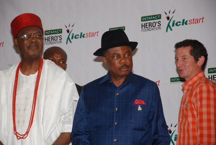 His Majesty Nnaemeka Achebe, CFR, mni, the Governor of Anambra State His Excellency Chief Willie Obiano and Andries Du Plesis, Vice President AB InBev (Nigeria and Ghana) at the Award Ceremony of Intafact Hero's Foundation Kickstart Programme which took place at DollyHills Hotel, Onitsha on Friday, December 9, 2016