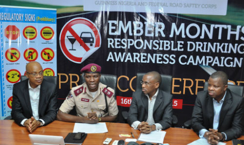 """L-R Head of Policy and Public Affairs, Michael Onuoha, Lagos Sector Commander, Federal Road Safety Commission, Mr. Hyginius Omeje, MD/CEO, Guinness Nigeria, Peter Ndegwa and Corporate Relations Director, Sesan Sobowale at the flagoff of the Guinness sponsored """"Ember Months Responsible Drinking Awareness Campaign"""" in Lagos"""