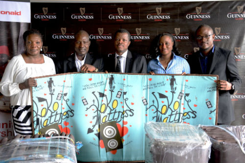 L-R Head, Fundrasing, Toyin Ekpeneidua; Director, Finance & Operations, ActionAid, Oluwole Elegbede; Corporate Relations Director, Guinness Nigeria Plc, Sesan Sobowale; Supporter Services Officer, Taiwo Yusuf and Sustainable Development Manager, Osita Abana at the handover of Mattresses for Internally Displaced Persons donated by Guinness Nigeria to ActionAid which held today at the Guinness Nigeria Headquarters, Ikeja
