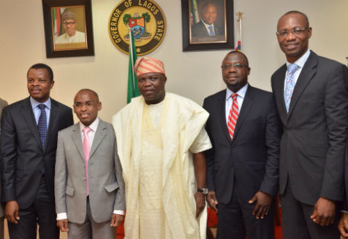 L-R Corporate Relations Director, Mr. Sesan Sobowale, Managing Director/ Chief Executive Officer, Mr. Peter Ndegwa, both of Guinness Nigeria Plc, Executive Governor, Lagos State, Mr. Akinwunmi Ambode, Special Adviser to the Governor on Overseas Affairs and Investment, Prof. Ademola Abass, and Supply Chain Director, Guinness Nigeria, Mr. Cephas Afebuameh during a courtsey visit to the governor by the Guinness Nigeria Plc team at the Lagos House, Alausa, Ikeja