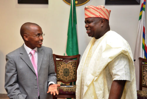 L-R Managing Director/ Chief Executive Officer, Guinness Nigeria Plc, Mr. Peter Ndegwa, and the Executive Governor, Lagos State, Mr. Akinwunmi Ambode, during a courtsey visit to the governor by the Guinness Nigeria Plc team at the Lagos House, Alausa, Ikeja